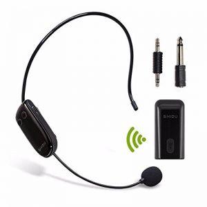 UHF micro sans fil Casque d'écoute portable avec transmetteur sans fil stable pour amplificateur de voix, PC, haut-parleur, compatible avec n'importe quel périphérique audio AUX de la marque SHIDU image 0 produit