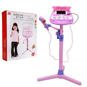Wishtime Enfants karaoké Micro Musical Toys Zm16038Enfants Rose Karaoke Support réglable avec Fonction de Musique Externe et lumières Clignotantes Jouet pour Enfants Enfants Filles de la marque Wishtime image 0 produit