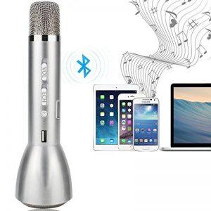 YFeel K088 Micros sans Fil / Instruments de Musique / Microphone à Main / Enceinte pour KTV Enseignement Spectacle Compatible avec Smartphone Android, Apple Iphone, PC Portable, Tablette, Argent de la marque YFeel image 0 produit